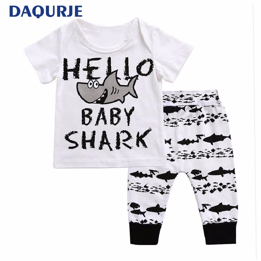 Baby clothes 2018 summer boy shark short top Pant 2pcs