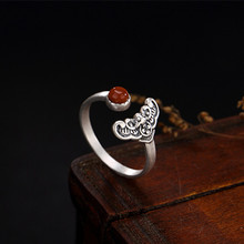 KJJEAXCMY Boutique jewelry S925 pure silver plum blossom south red and antiquate pure silver ring s925 pure silver wholesale contracted only beautiful lady topaz st2018 set of chains pure and fresh and euphemism