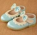 Primavera outono suave passeio do bebê azul rosa sapato arco Bowtie pérola crianças meninas vestir sapatos de casamento salto baixo sapatos para crianças TX66