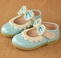 Spring Autumn Soft Baby Walking Blue Pink Bow Shoe Bowtie Pearl Kids Girls Dress Shoes Low Heel Wedding Shoes For Kids TX66