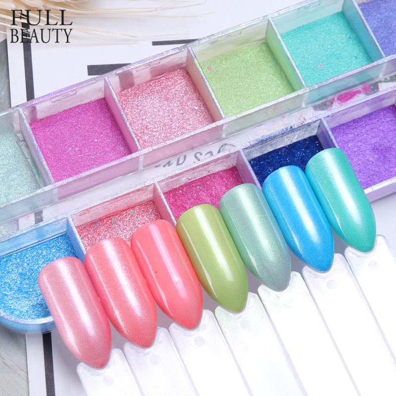 12 Grid Glitter Nail Chrome Powder Dust Super fine Colorful Shimmer Flake Set Dipping Nail Art Pigment Decoration Manicure CHZGF-in Nail Glitter from Beauty & Health