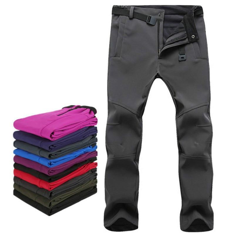 Woman Men Outdoor Camping&Hiking Pants Soft Shell Waterproof Fleece Windproof Pants SkiingTrousers Double Snowboard Trousers