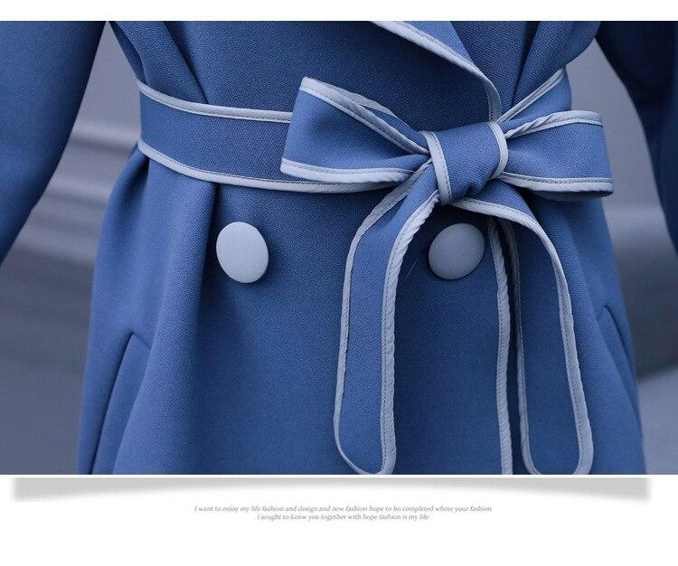 Épaulette Bf genou Chic fog coat vent Manteau Trench Blue Beige Ceintures Détendue Long Nouveau Over the Femelle Joker Coupe 2018 Femmes qgIOH
