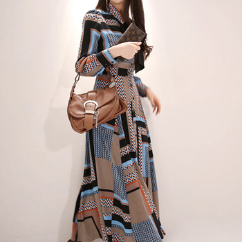 Mirsicas Ankle-length Vintage Print Elegant Dress