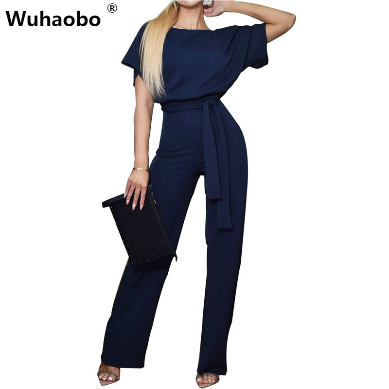 Summer   Jumpsuit   Women Short Sleeve Elegant   Jumpsuits   Long Pants Casual Work Romper Spring Office Lady Bodysuit Overalls 2019