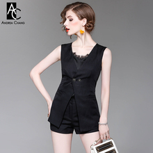 spring summer woman outfit black white camis long vest shorts three-piece outfit pantsuit lace collar fashion office outfit suit
