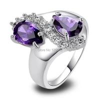 Wholesale New Jewelry Fashion Purple Amethyst & White Topaz 925 Silver Ring Size 7 8 9 10 Fashion Jewelry Women's Gift Free Ship