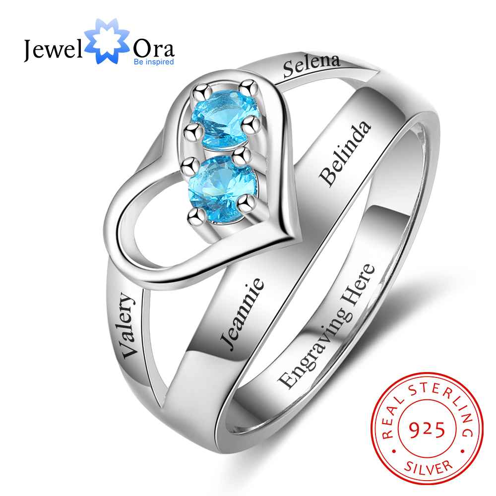 personalized heart birthstone custom engrave 2 names promise ring love 925 sterling silver anniversary gift jewelora ri103269 Heart Shape Personalized Gift For Her Custom Engrave Names & Birthstone Promise Rings Anniversary Jewelry (JewelOra RI103290)