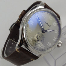 лучшая цена 2019 Romantic Valentines gifts 44mm parnis Grey Dial Stainless steel Case Leather strap 6498 Hands Wind Movement men's Watch