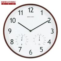 Geekcook 14 Polegada Multifuncional Relógio de Parede Moderno Relógio Redondo de Madeira & Metal Relógio de Parede de Quartzo Mudo Grande Relógio Para Sala de estar quarto|Rel. parede|   -