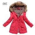 Nuevo invierno mujeres chaqueta medio-largo espesar plus tamaño 4XL parka outwear coat capucha wadded delgada de algodón acolchado sobretodo de la chaqueta