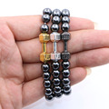 8mm Hematite Stone Power Dumbbell Beads Bracelet Women Fitness Fit Life Prayer Dumbbell Jewelry  for Men