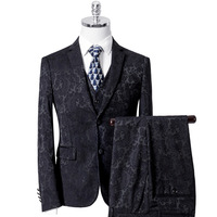 2019 Men's Jacquard Embroidery Dress Up West Dressing Host Costume Groom Evening Suit Banquet Suit