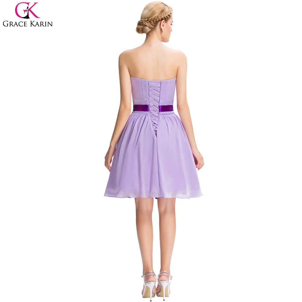 Grace Karin Cheap Purple Bridesmaid Dresses A Line Modest Strapless ...