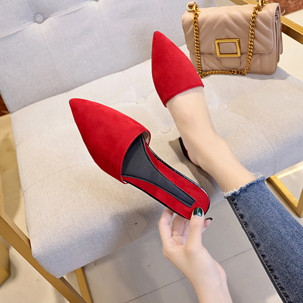 373edeecc369d US $11.43 20% OFF|Women Flats Pointy Toe Mule Slippers Faux Suede Closed  Toe Sandal Casual Shoes comfortable backless slip on Loafer shoes-in  Women's ...