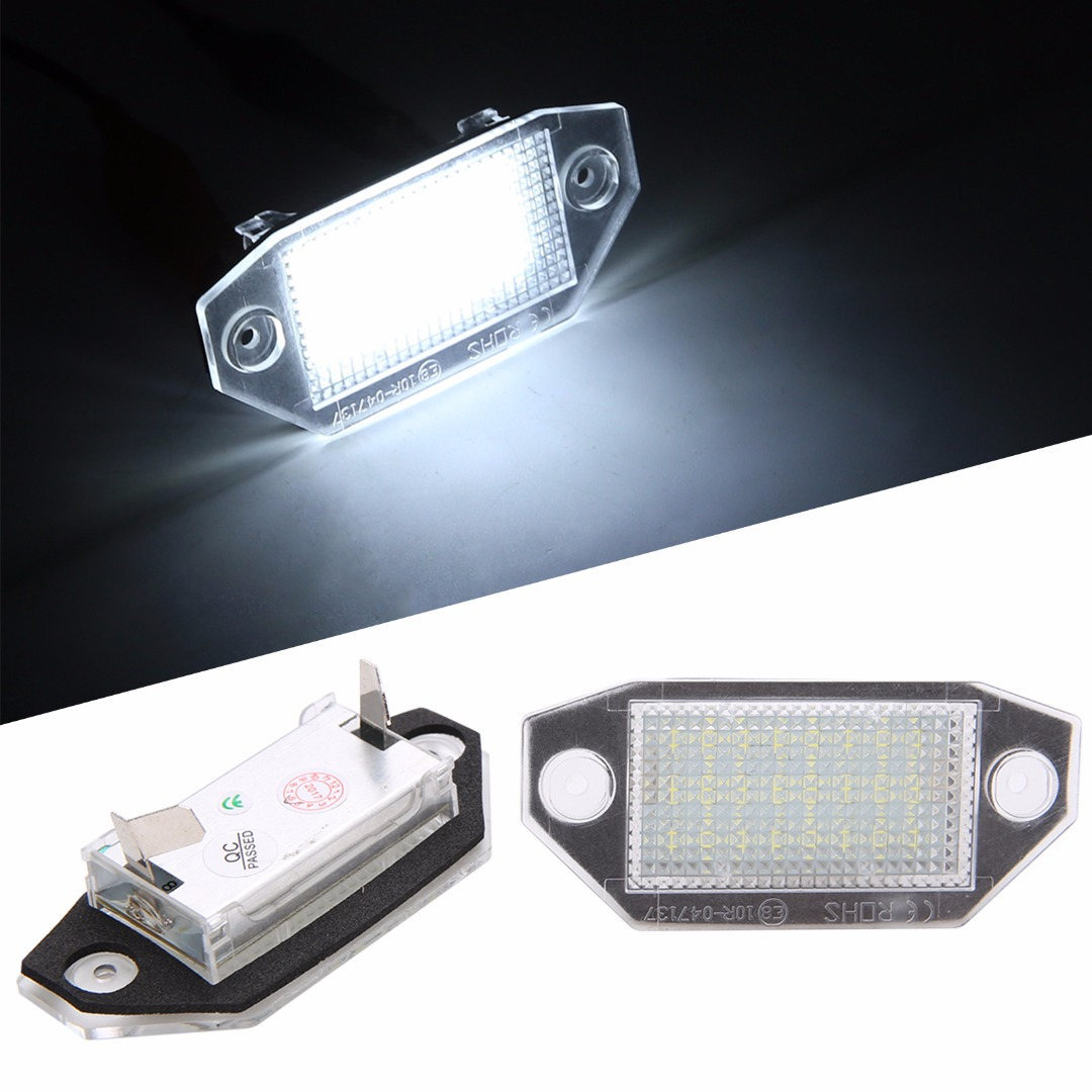 2pcs 24 SMD LED Car Number License Plate Light 6000K White Lamp For Ford Mondeo MK3 2000 2001 2002 2003 2004 2005 2006 2007 2pcs car led license number plate light lamp 6w 12v 24 led white light for ford focus 2 c max