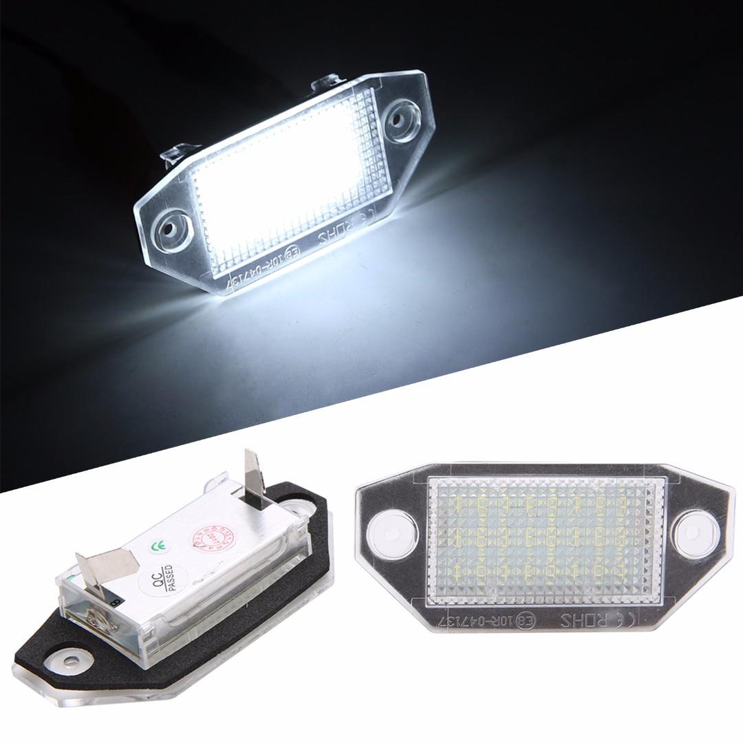 2pcs 24 SMD LED Car Number License Plate Light 6000K White Lamp For Ford Mondeo MK3 2000 2001 2002 2003 2004 2005 2006 2007
