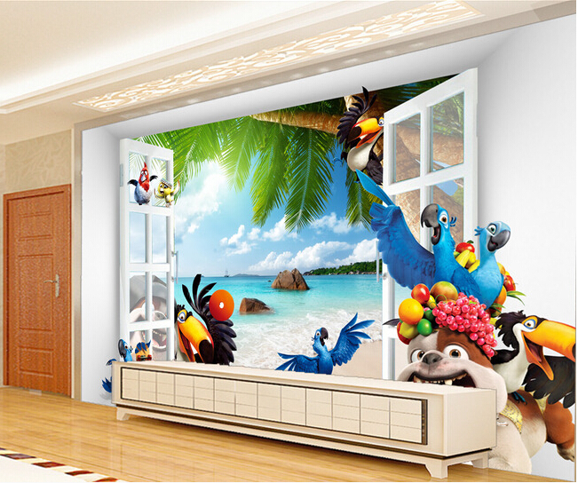Custom 3D murals,3 d stereo space cartoon animals  papel de parede,living room sofa TV wall children bedroom wallpaper custom 3d stereo wallpaper murals window outside european scenery living room tv wall decoration painting papel de parede 3d