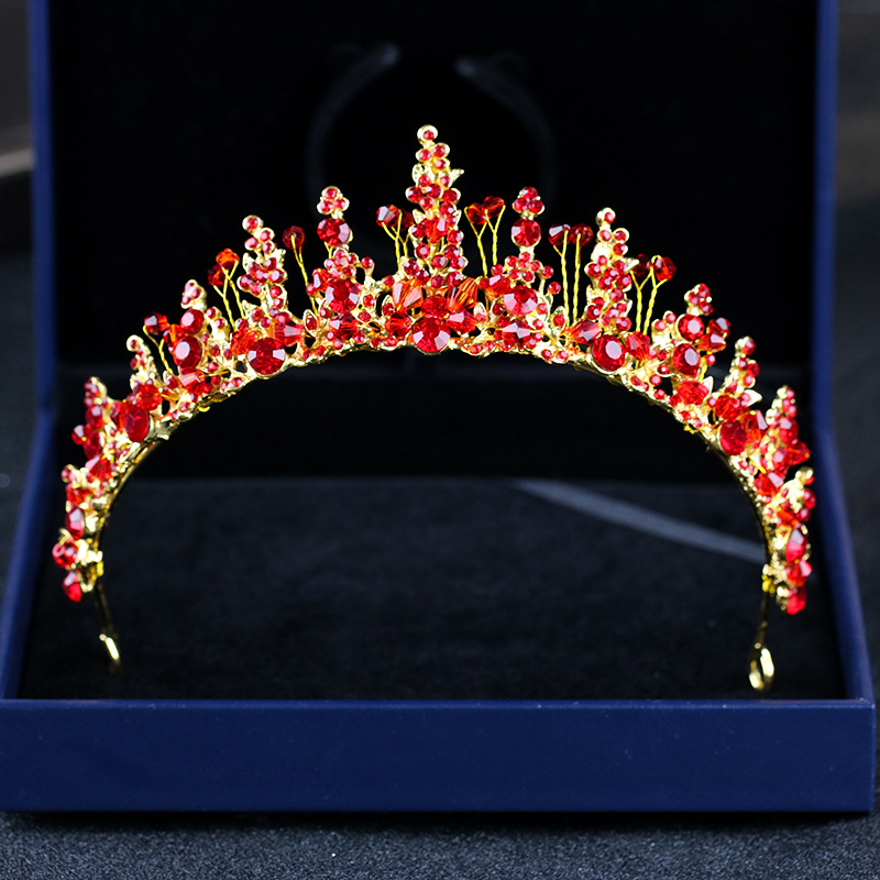 KMVEXO Fashion Bride Handmade Red Crystal Tiaras Gold Headpieces Flower Rhinestone Crown Diadem Wedding Hair Jewelry Accessories