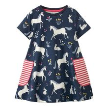 Baby Girls Summer Dress 2019 Cotton Princess Dress for Girl Clothes Unicorn Dresses Kid Clothing Children Baby Girl Carton Dress недорого