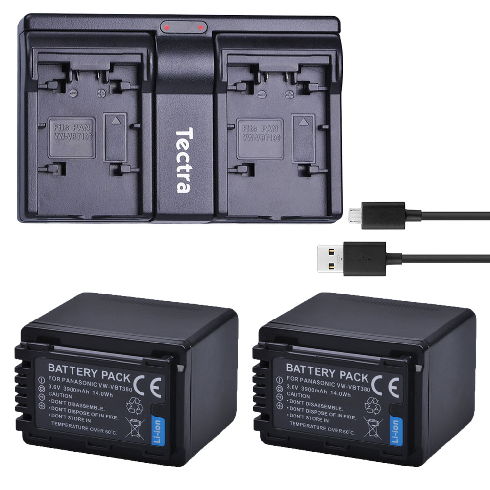 Tectra 2PCS VW-VBT380 VW VBT380 Li-ion Camera Battery +USB Dual Channel Charger for Panasonic HC-V180GK HC-V380GK v380 HC-W580GK