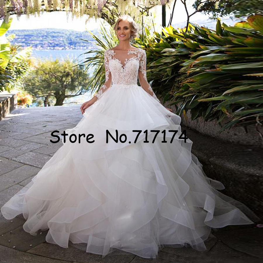 Layer Ruffle Skirts Backless Wedding Dresses Illusion Long Sleeves Appliqued Ball Gowns Bridal Wedding Gowns Arabic Vintage