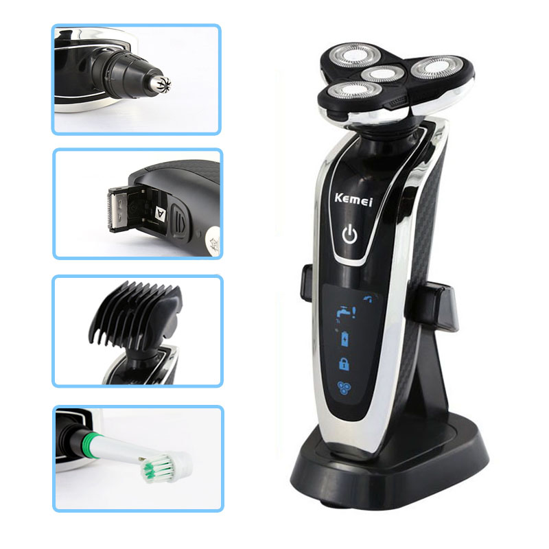 Rechargeable 4 in 1 electric shaver washable trimmer barbeador face beard kemei electric razor men shaving machine groomer rechargeable electric shaver washable trimmer barbeador face men shaving machine groomer beard kemei 3d electric razor