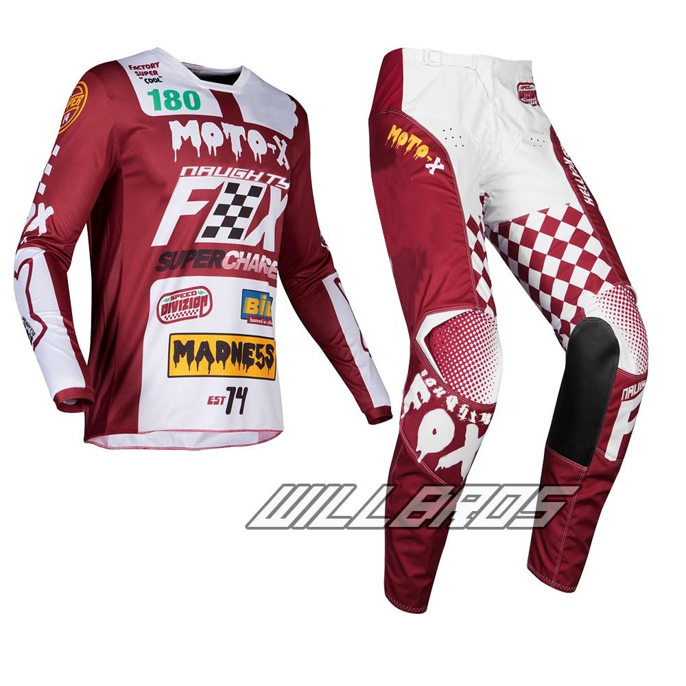 купить 2019 Naughty Fox MX 180 Czar Jersey Pants Combo Cardinal Maroon Adult Gear Set for Motocross Dirt bike Off Road Racing недорого