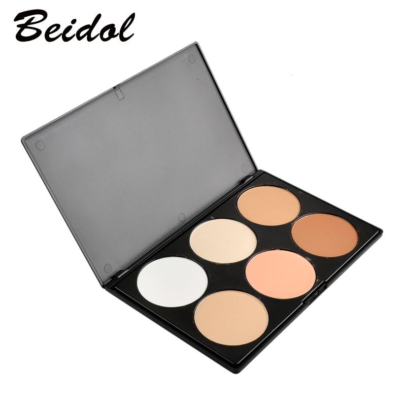 Professzionális 6 színben kóstoló szett Makeup Contour Blusher arc púder paletta alapítvány smink palettája