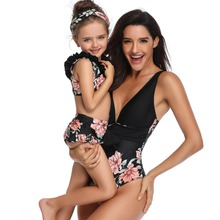 deep V mother daughter bikini swimsuits family look mommy and me swimwear clothes matching outfits mom mum mama and girls dress family swimsuits mommy and me clothes mother daughter swimwear floral bathing suits mom girls matching outfits bikini dress look