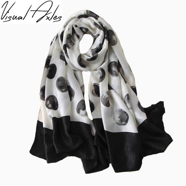 ef5ea1334b Femmes De Mode Designer De Luxe Marque Soie Tactile Foulards Impression  Grand Noir Et Blanc Pois
