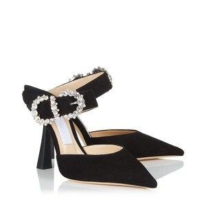 Image 3 - Sandalias con diamantes De imitación para Mujer, Zapatos De tacón alto con hebilla y punta estrecha, con decoración De Metal, para verano, 2019