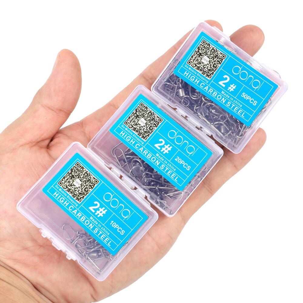 DONQL 102050pcs Fishing Connector Swivels Interlock Pin Snap 12#-10# Rolling Swivel For Fishhook Lure Fishing Accessories (1)