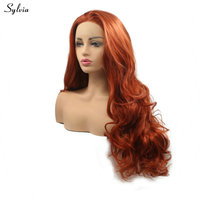 Sylvia Loose Wave Long Hair Copper Red/Dark Orange Wig Heat Resistant Synthetic Lace Front Wigs for Women Girls Natural Hairline