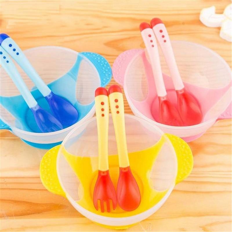 קערה קערה ספל דיש 3PC בייבי קערה לילדים טמפרטורת תינוק חישה קערה קערה למידה כלים עם כוס היניקה לסייע מזון