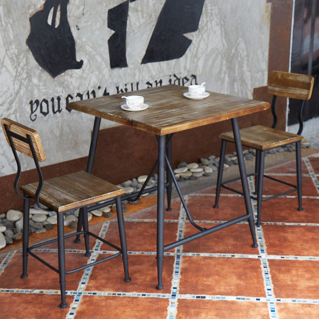 Retro Cafe Table And Chairs Leather Chair Sale American Casual Home To Do The Old Wrought Iron Wood Furniture Simple Negotiate Tables Combination Of Fast