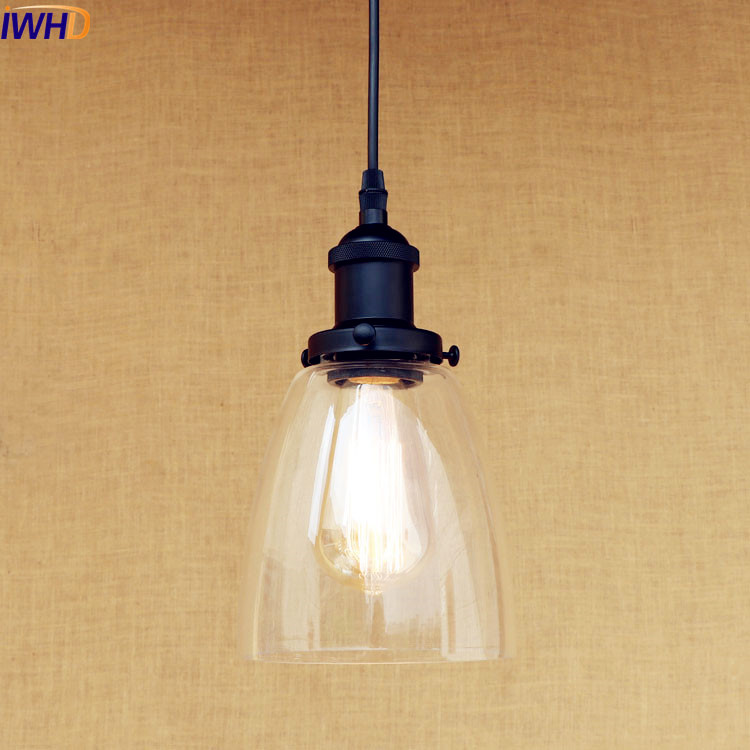 IWHD Loft Style Industrial LED Pendant Lights Fixtures Indoor Home Lighting Vintage Light Hanging Lamp Edison Galss Lampshade iwhd american edison loft style antique pendant lamp industrial creative lid iron vintage hanging light fixtures home lighting