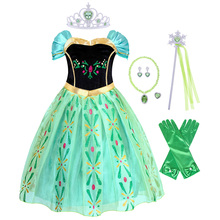 AmzBarley Girls Anna costume Green Embroidery Princess Dress Halloween Birthday party Cosplay outfit Floral prom Ball Gowns