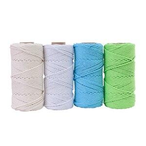 Image 3 - 4mm x 100m 100% cabo de algodão corda colorida bege trançado artesanato macrame corda diy casamento casa têxtil fonte decorativa