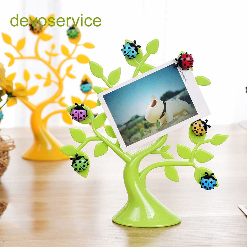 New Creative Lucky Tree Desktop Cute Memo Clip Photo Note Holders Multifunctional Decoration Magnetic Plastic Table Card Holders