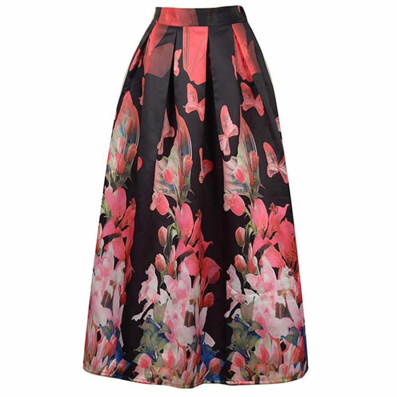 5f7c3f64daa1 ... Neophil Ladies Maxi Long Skirts High Waist Black White Lily Flower  Floral Printed Pleated Floor Length ...