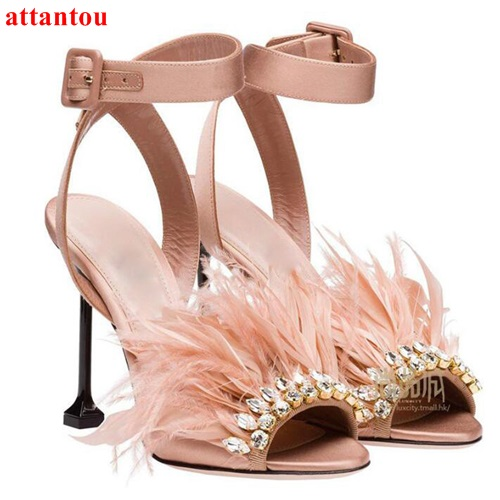 Pink feather woman sandals fashion strange style heel bling bling crystal high heels peep toe female pumps wedding dress shoes newest design stylish wedge sandals bling bling multicolor rhinestone decoration celebrities style concise peep toe party shoes
