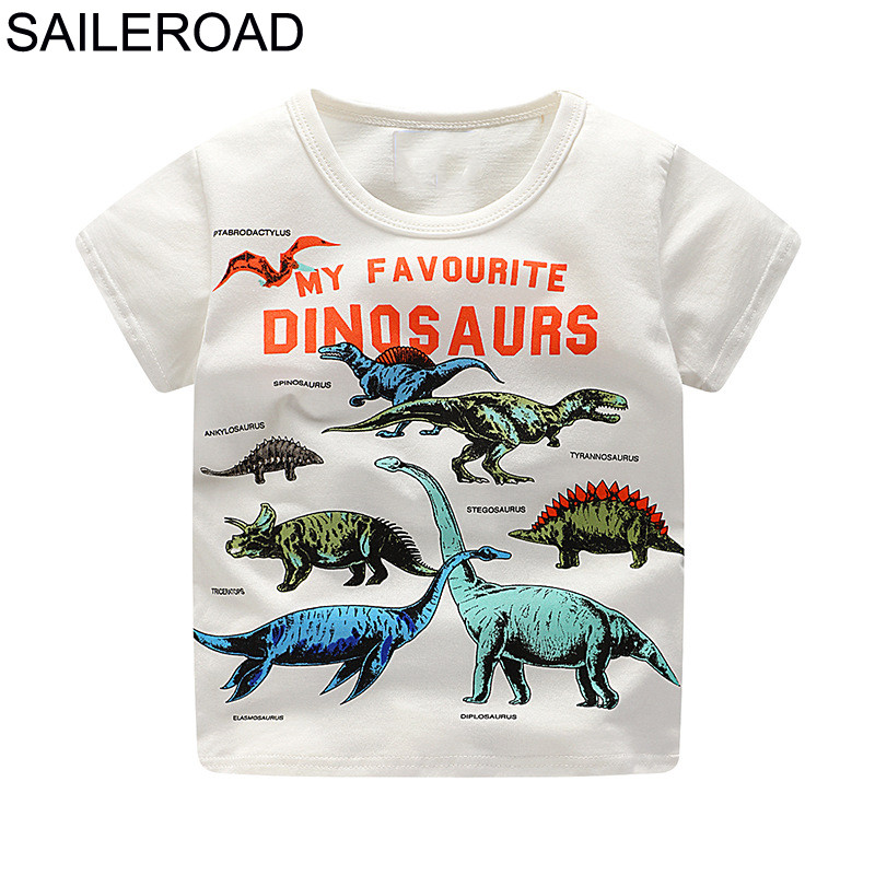 SAILEROAD 2-8Years Cartoon Dinosaur Print Baby Boys Shorts T Shirt For Summer New Infant Kids Boys Girls Topwear Clothes Cotton 2018 new infant boys girls summer cartoon mickey striped t shirt denim shorts clothes sets children kids hole jeans clothing