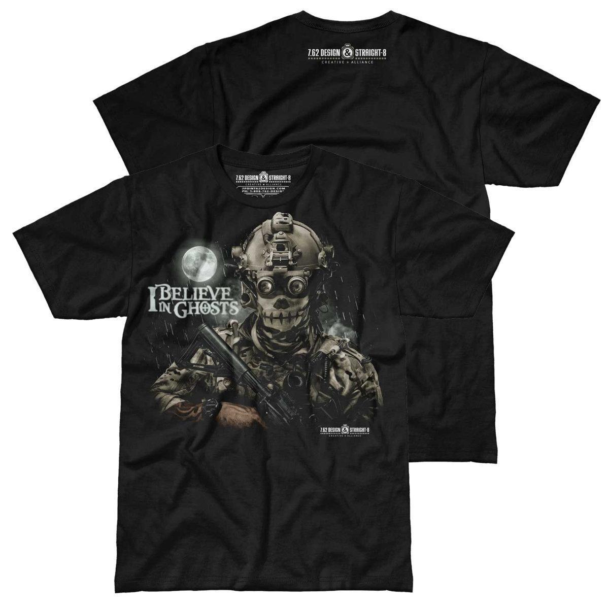 2019 Fashion Summer Style I Believe In Ghosts Military Men's T-Shirt, Black Tee Shirt