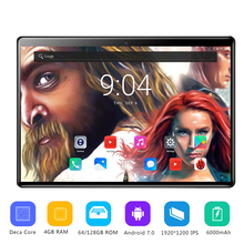 2019 HOT New 10 inch Tablet PC Deca Core RAM 4GB ROM 64/128GB Android 7.0 OS 10 Cores 1920*1200 IPS 2.5D Glass Screen +Gifts