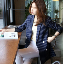 2016 Spring New Fashion Chic Womens suit Collar Stripes Double-breasted OL Office Coats elegant Blazer G89