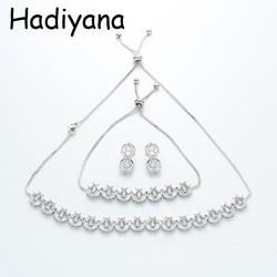 HADIYANA New Fashion Choker Necklace 4PC Sets Luxury Cubic Zirconia Combination Bridal Jewelry Ornament Accessories Set TZ8058