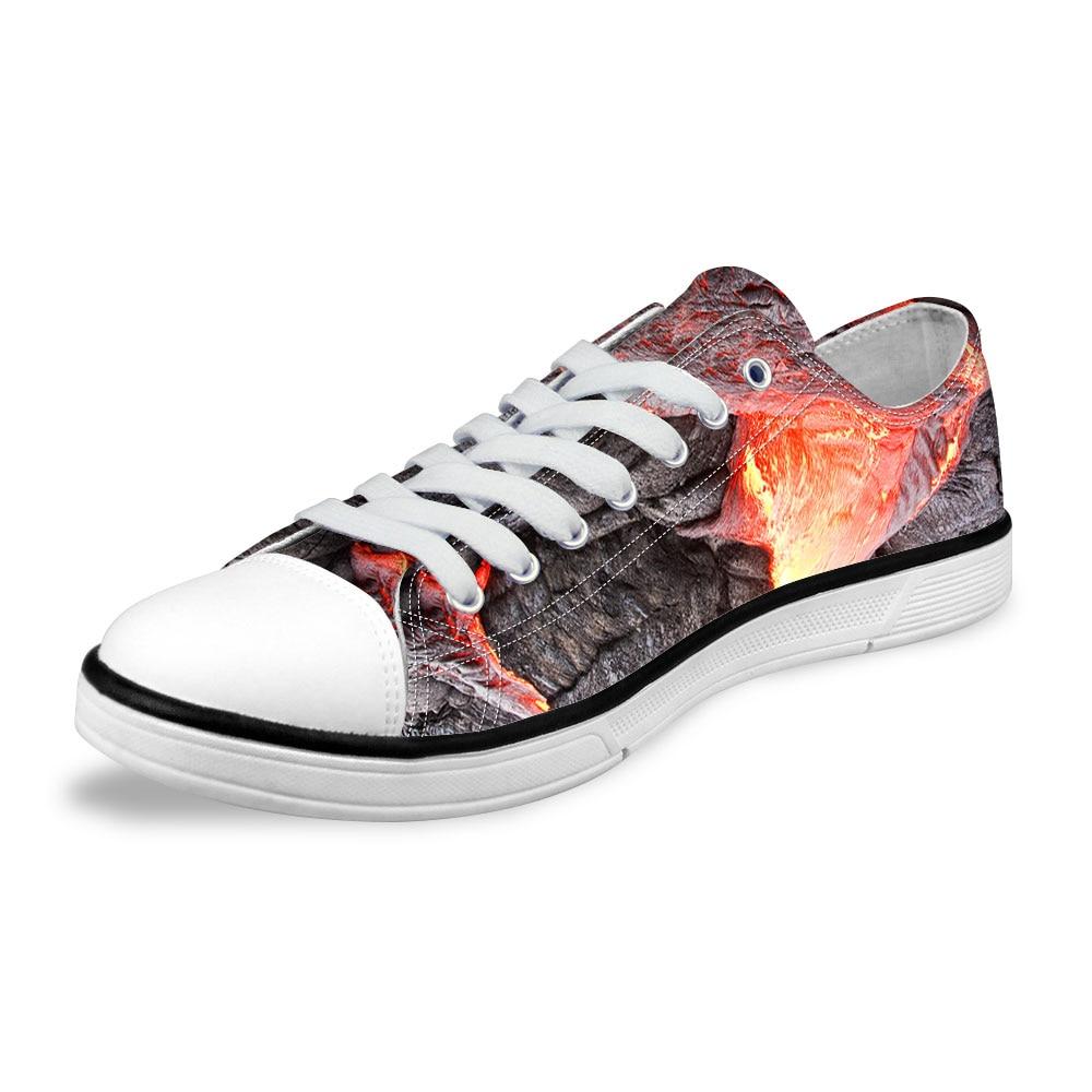 NOISYDESIGNS Classic Low Top Vulcanize Shoes Men Flat Lace-up Canvas Shoes Cool 3D Volcanic Rocks Print Men Breathable Sneakers