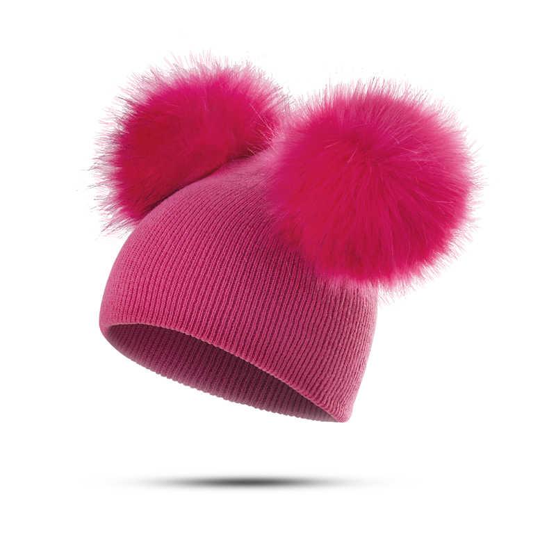a9607e9dbd6b97 ... MOLIXINYU Children Hat Toddler Kids Baby Warm Winter Wool Hat Knit  Beanie Fur Pom Pom Hat