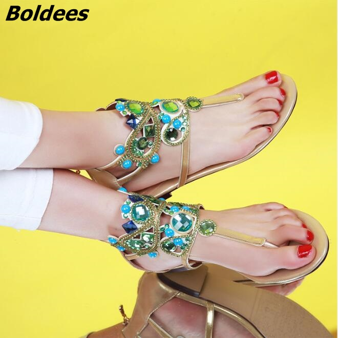 2017 Casual Crystal Stick Flip-flop Shoes Women Beach Wear Flat Sandals Clip-toe Rhinestone Gladiator Sandals Fashion Lady Shoes fashion summer gladiator women flat fashion shoes casual occasions comfortable sandals round toe casual peep toe flat shoes s